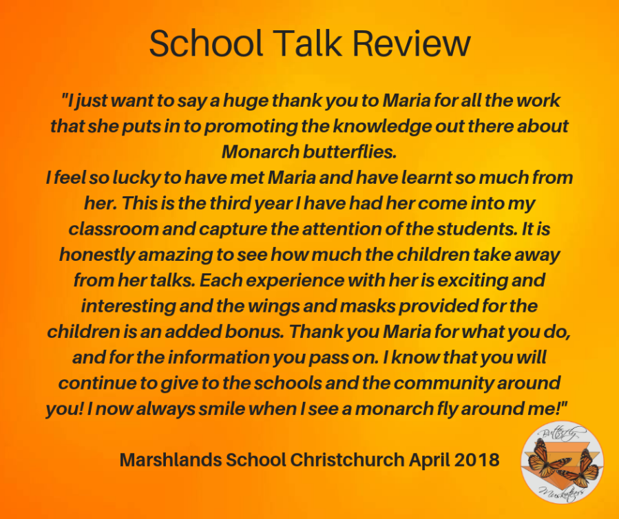 I just want to say a huge thank you to Maria for all the work that she puts in to promoting the knowledge out there about Monarch butterflies. I feel so lucky to have met Maria and have